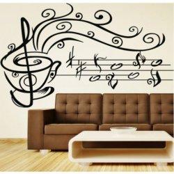 Chávena de Café com Notas Musicais