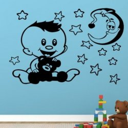O Pequeño Bebê com o seu Ursinho e a Lua