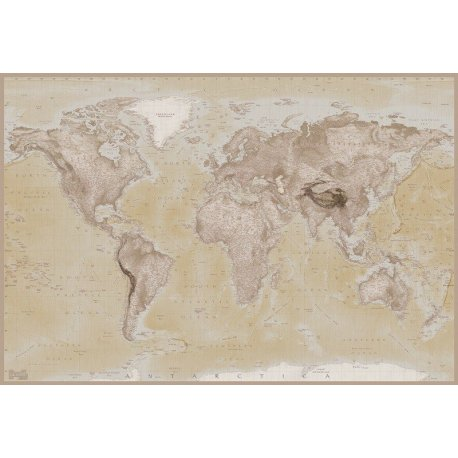 Mapa do Mundo Cores Neutras