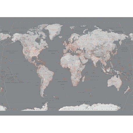 Mapa Mundo Elegante Cinzento e Laranja