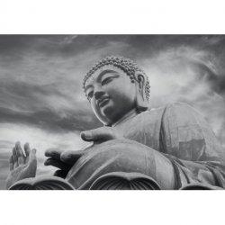 Estátua Buda Gigante Preto e Branco