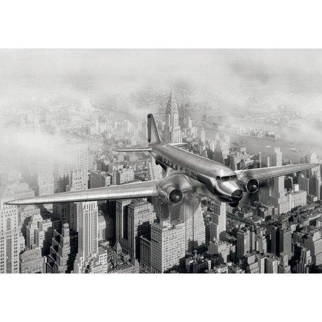 Avião Voando sobre a Nova Iorque Anos 50