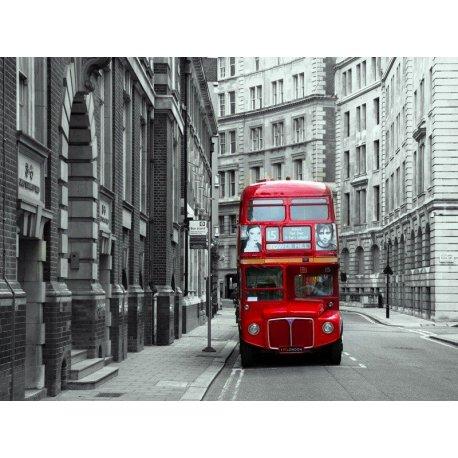 Ónibus Londres Vermelho sobre Cinzento