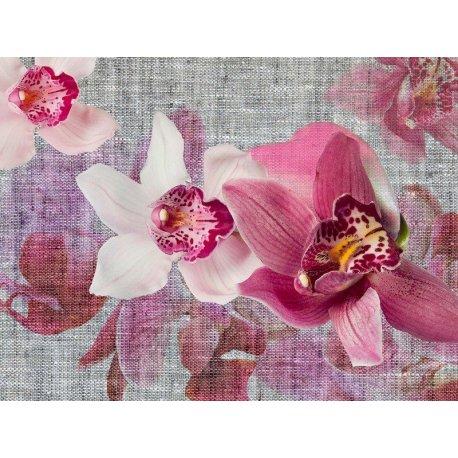 Composição Orquídea Lila sobre Tela