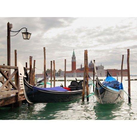 Estampa Veneza Gondolas nos Canais