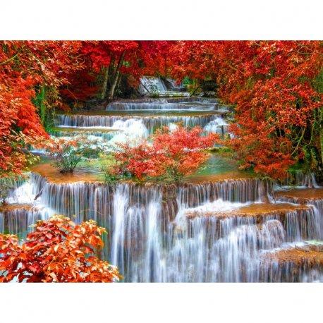 Cascata em Paisagem Vermelho Outonal
