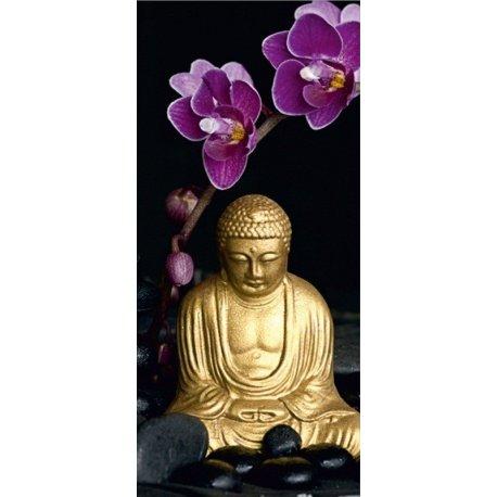 Buda Dourado Coroado com Lilás