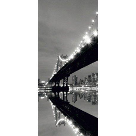 Sob a Ponte Iluminada em Preto e Branco