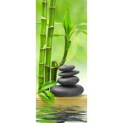 Bambu e Pedras Pretas em Equilíbrio