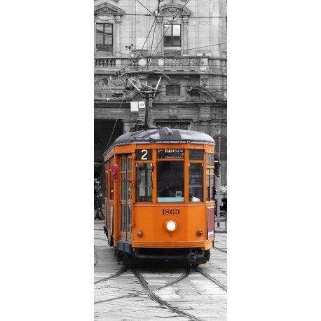 Carro Eléctrico Milão sobre Preto e Branco