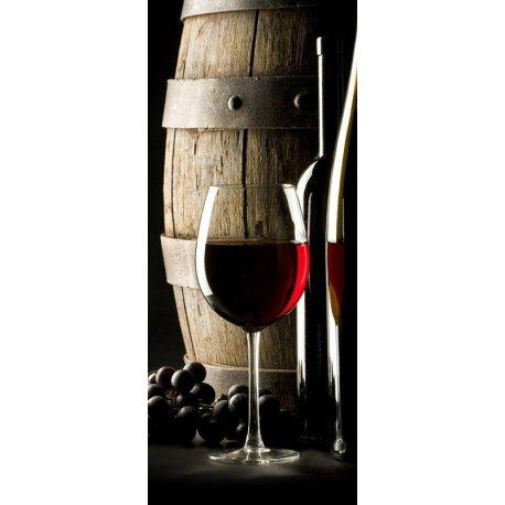 Uvas, Barril e Copo de Vinho Tinto
