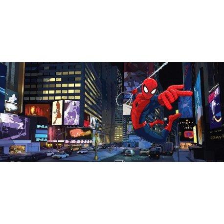 Homem-Aranha voando em Times Square