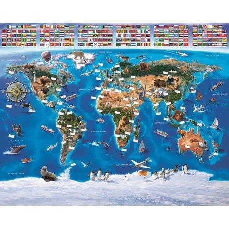Mapa do Mundo Didáctico Bandeiras do Mundo