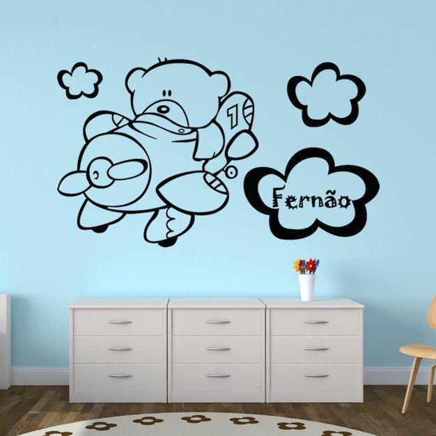 Autocolante Decorativo Infantil Ursinho Numero Um Aviador