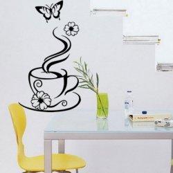 Chávena de Café com Flores e Borboleta